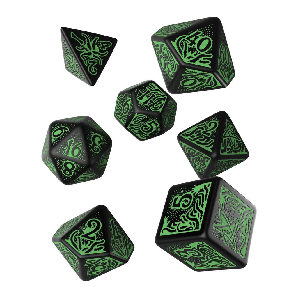 Q-Workshop Call Of Cthulhu RPG Black Green 7 Piece Dice Set