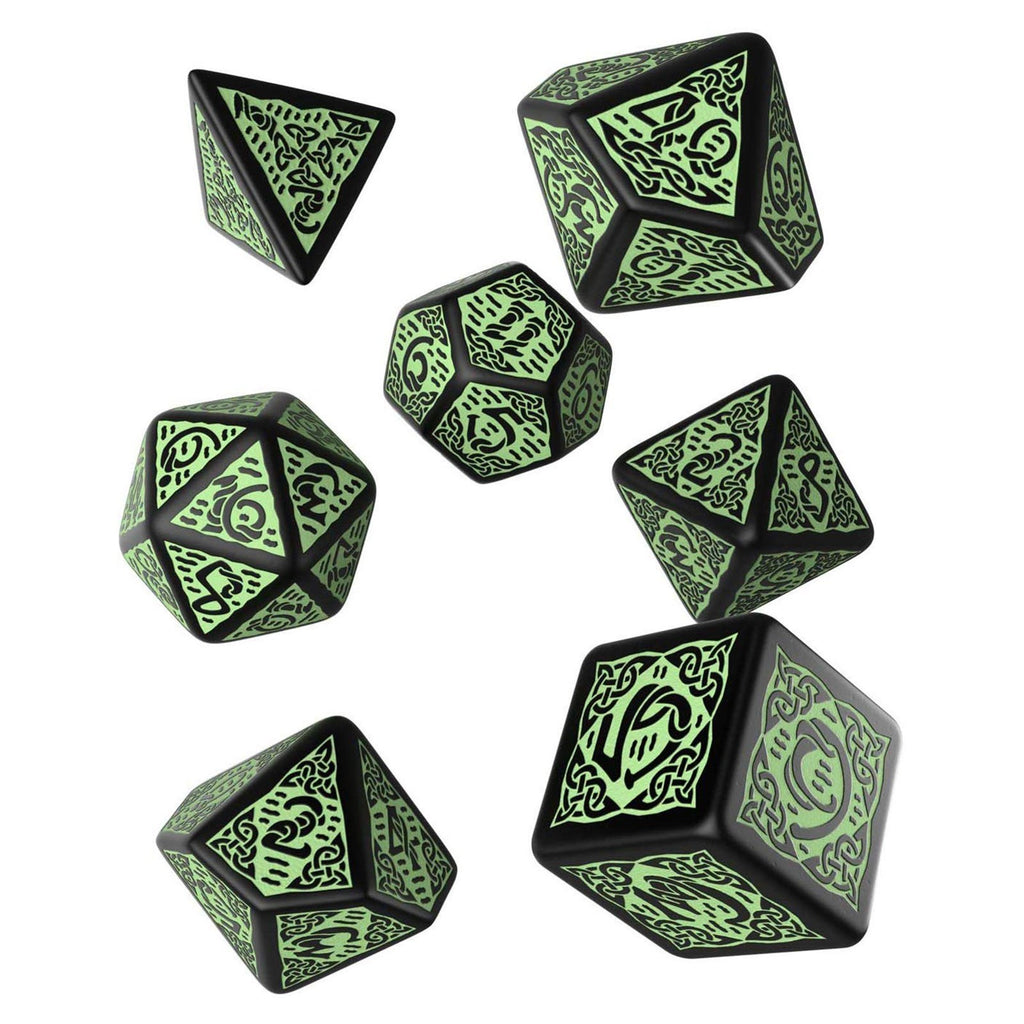 Q-Workshop Celtic Black Green 7 Piece Dice Set