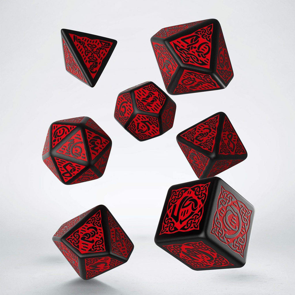 Q-Workshop Celtic Black Red 7 Piece Dice Set