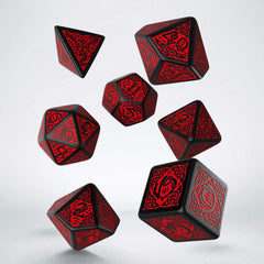 Dice - Q-Workshop Celtic Black Red 7 Piece Dice Set