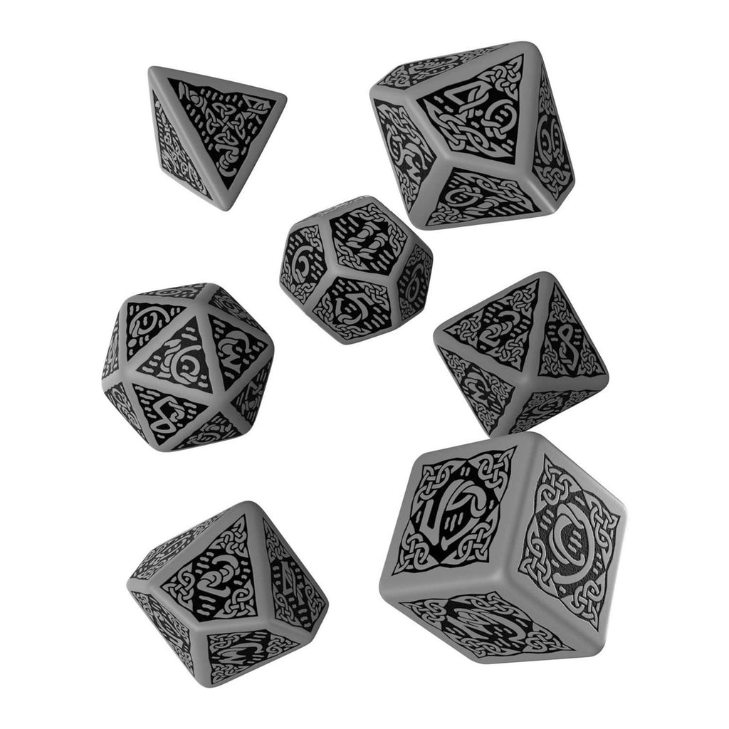 Q-Workshop Celtic Gray Black 7 Piece Dice Set