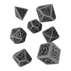 Dice - Q-Workshop Celtic Gray Black 7 Piece Dice Set