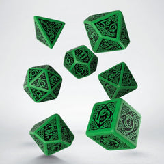 Dice - Q-Workshop Celtic Green Black 7 Piece Dice Set