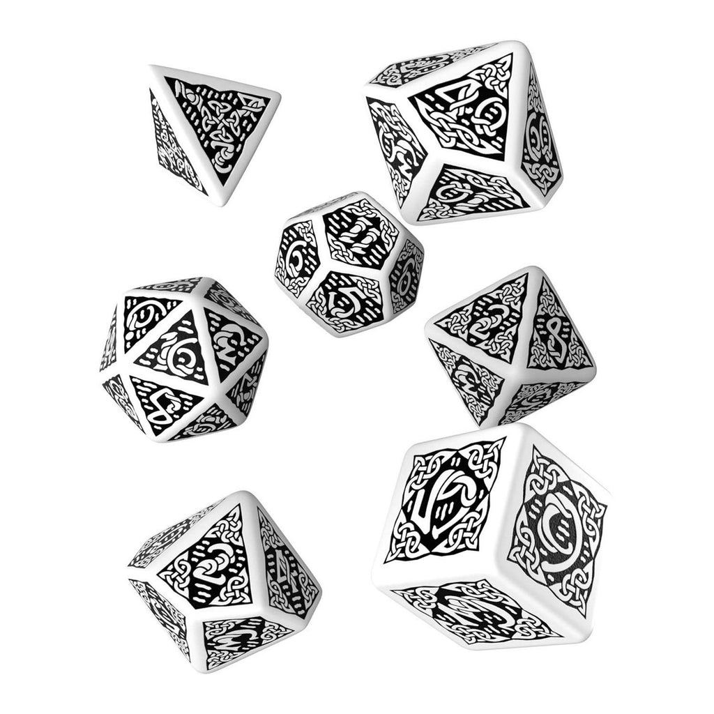 Q-Workshop Celtic White Black 7 Piece Dice Set