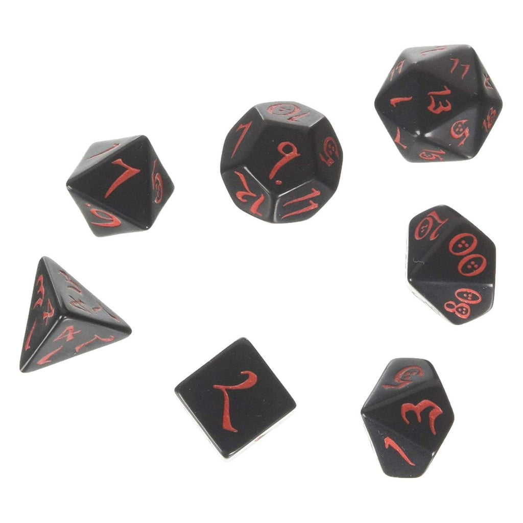 Dice - Q-Workshop Classic RPG Black Red 7 Piece Dice Set