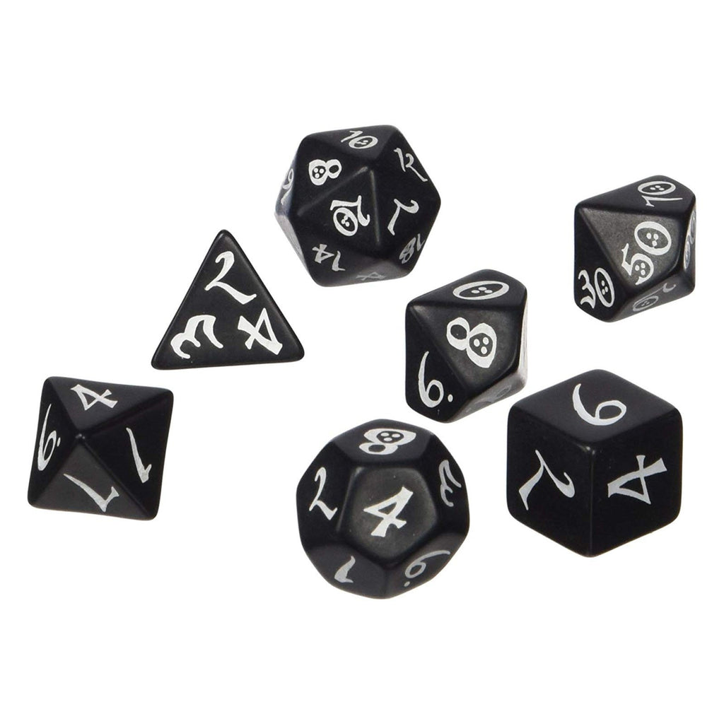 Q-Workshop Classic RPG Black White 7 Piece Dice Set