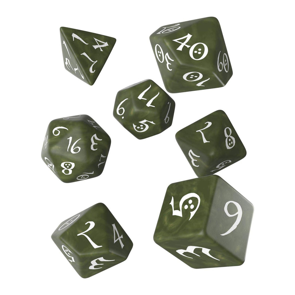 Q-Workshop Classic RPG Olive White 7 Piece Dice Set