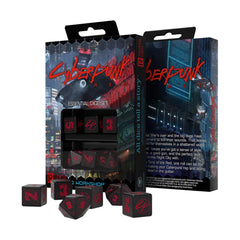 Dice - Q-Workshop Cyberpunk Black & Red Roleplaying 4d6 & 2d10 Dice Set