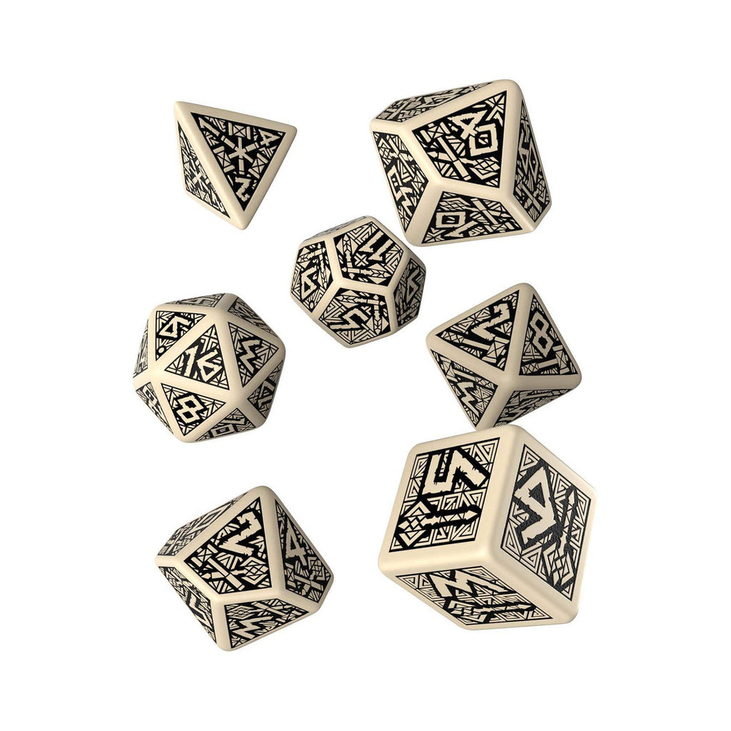 Q-Workshop Dwarven Beige Black 7 Piece Dice Set