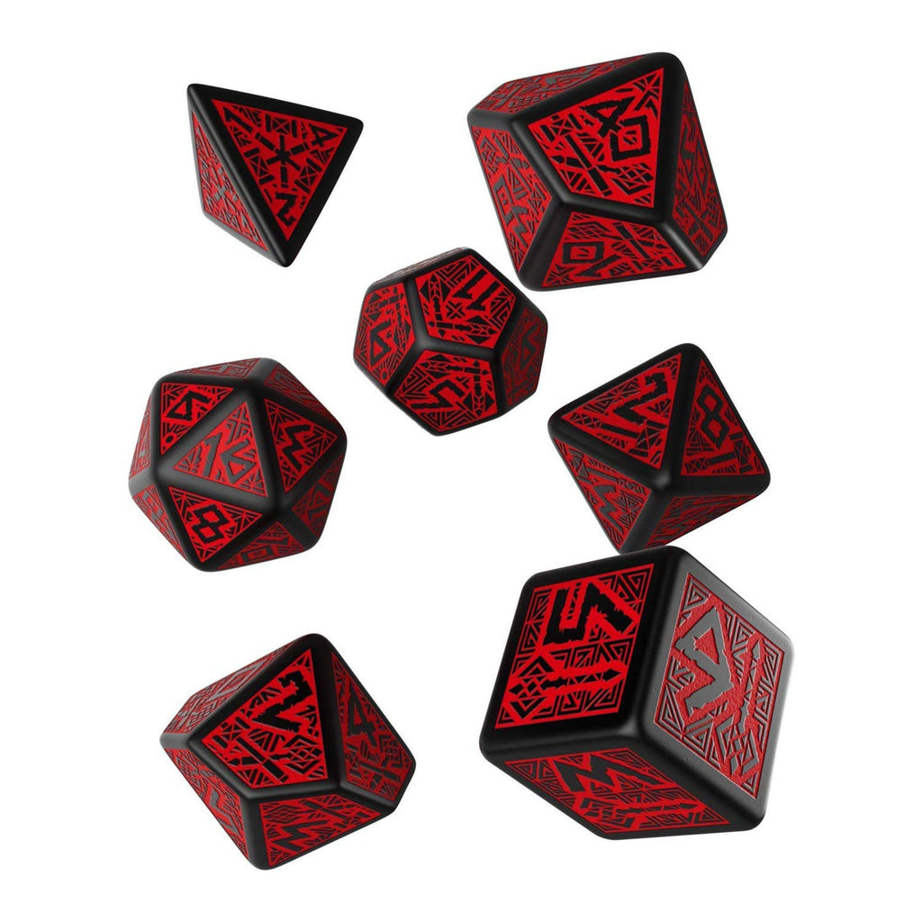 Q-Workshop Dwarven Black Red 7 Piece Dice Set