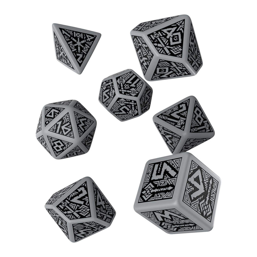 Q-Workshop Dwarven Gray Black 7 Piece Dice Set