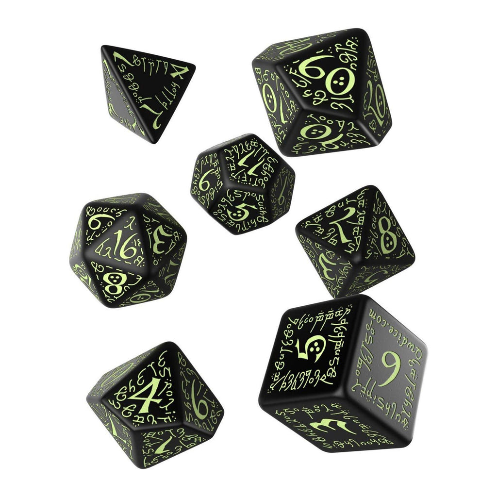 Q-Workshop Elvish Black Glow In The Dark 7 Piece Dice Set
