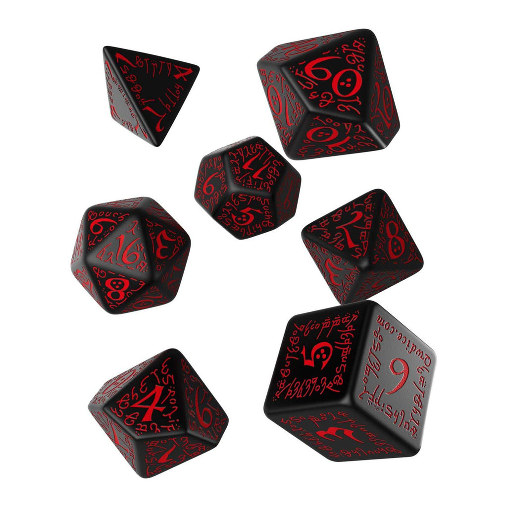 Q-Workshop Elvish Black Red 7 Piece Dice Set
