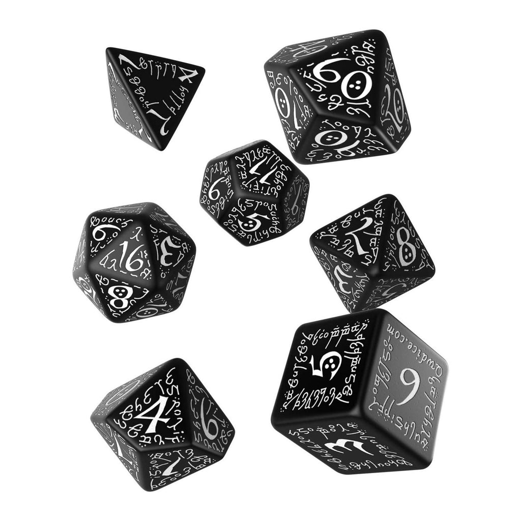 Q-Workshop Elvish Black White 7 Piece Dice Set