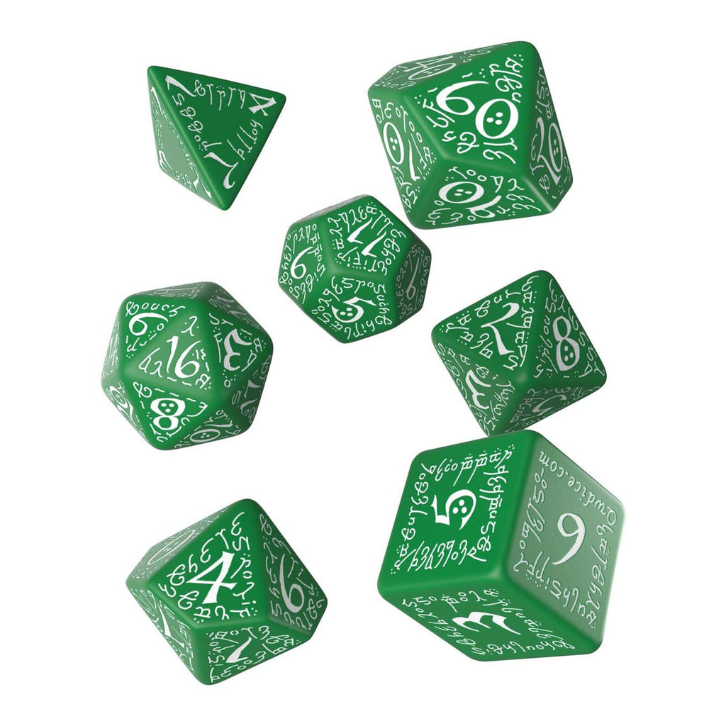 Q-Workshop Elvish Green White 7 Piece Dice Set