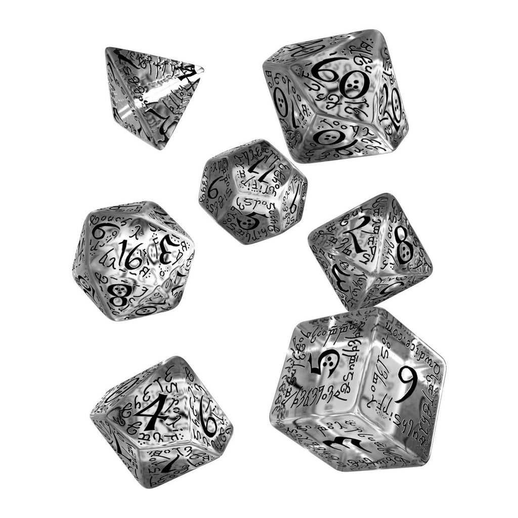 Q-Workshop Elvish Translucent Black 7 Piece Dice Set