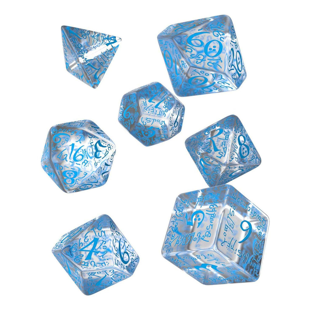 Q-Workshop Elvish Translucent Blue 7 Piece Dice Set