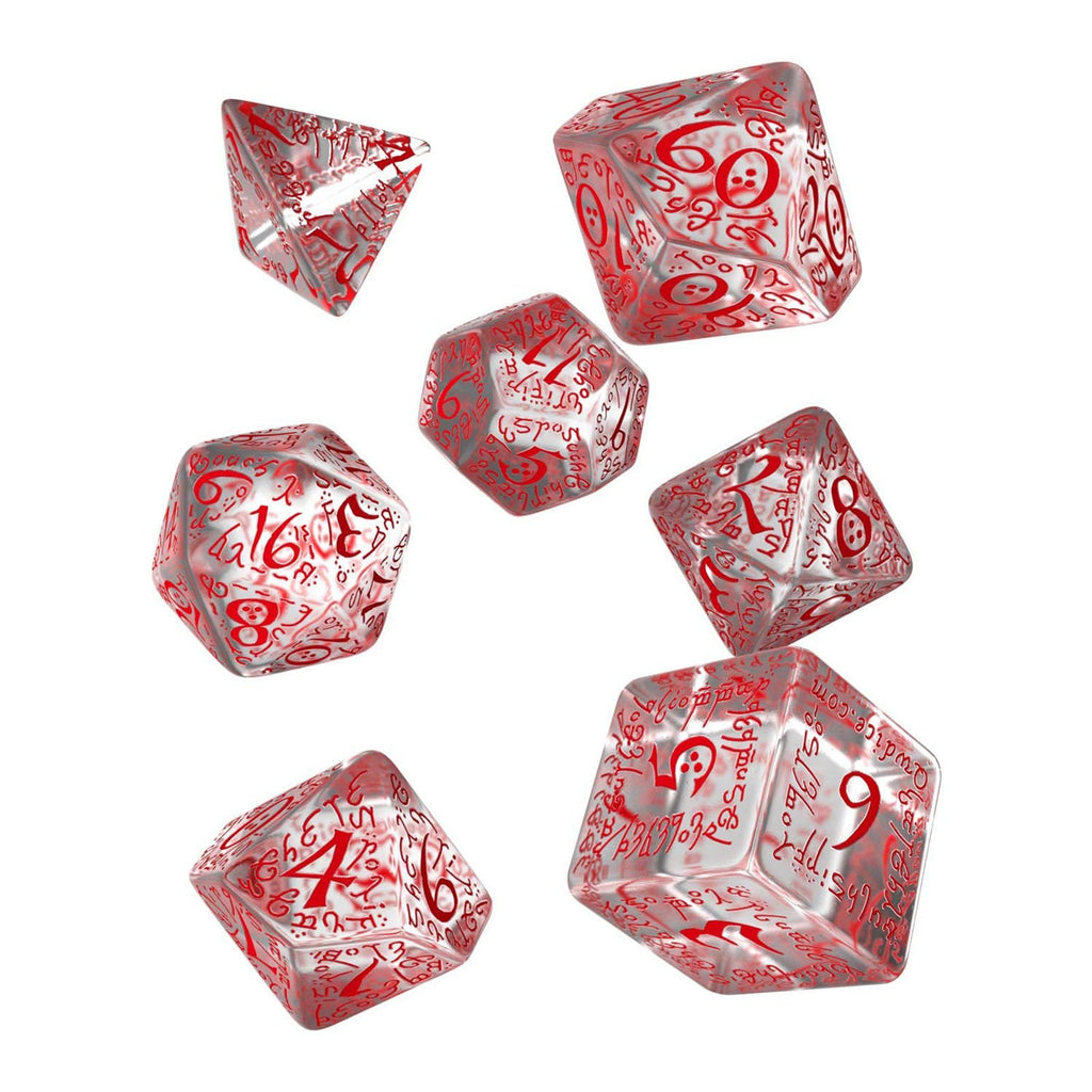 Q-Workshop Elvish Translucent Red 7 Piece Dice Set