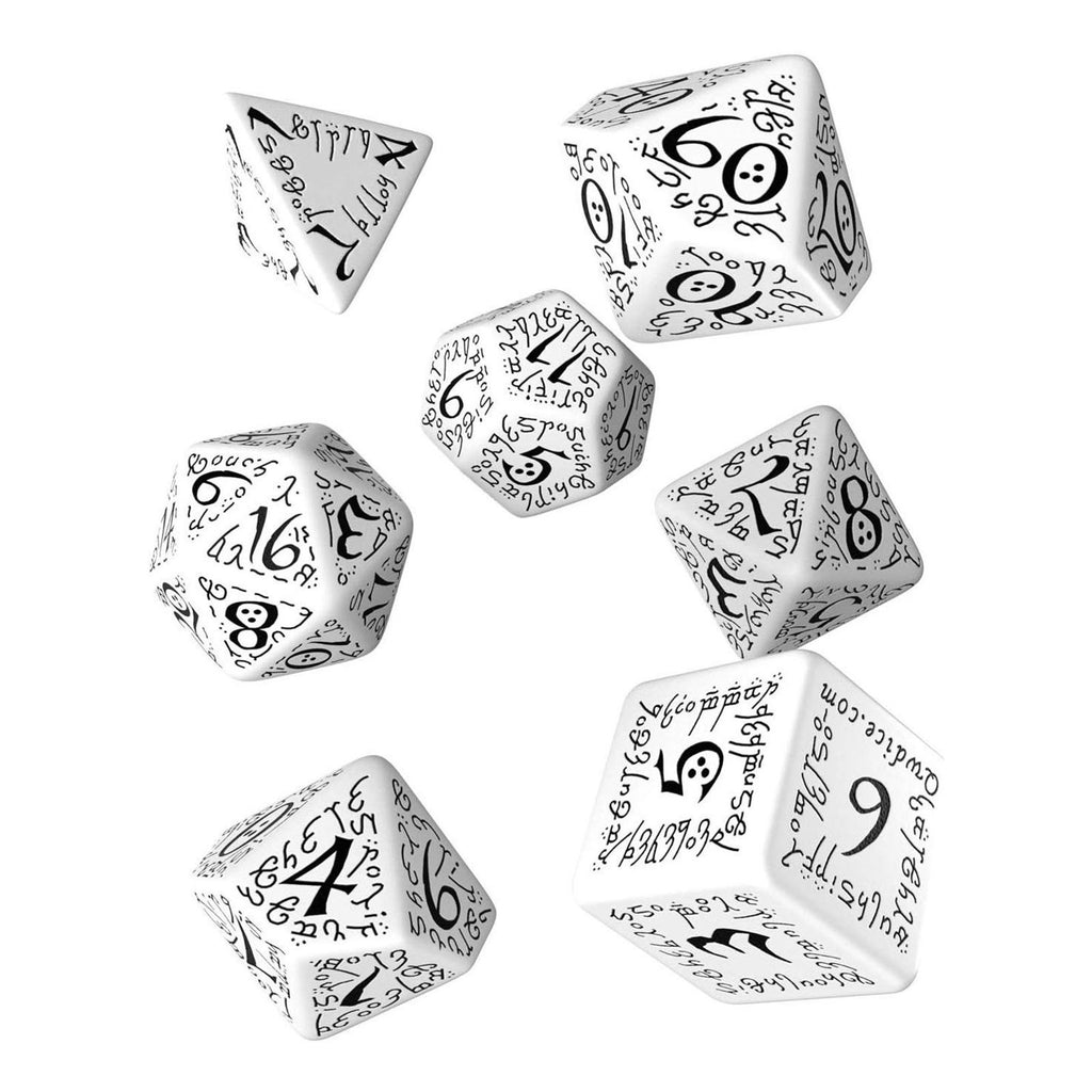 Q-Workshop Elvish White Black 7 Piece Dice Set