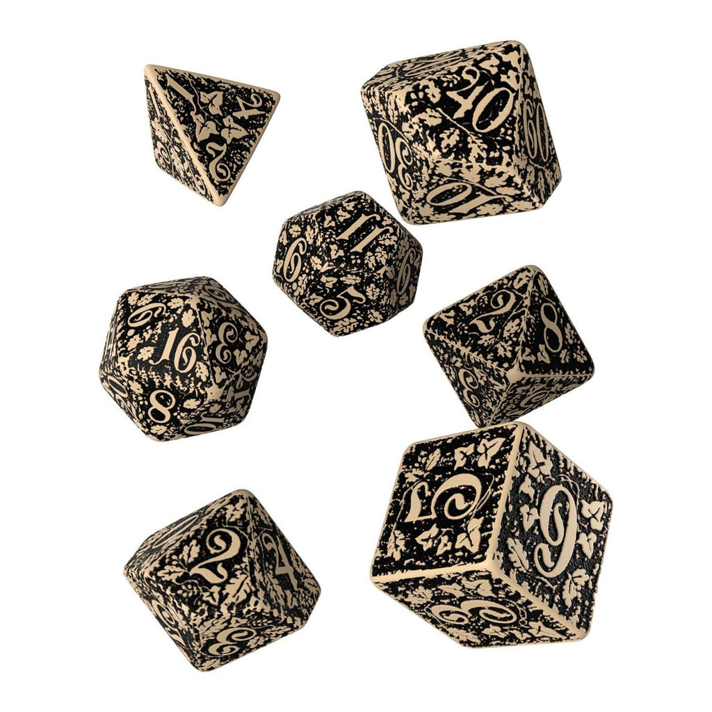 Q-Workshop Forest Beige Black 7 Piece Dice Set