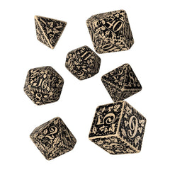 Dice - Q-Workshop Forest Beige Black 7 Piece Dice Set