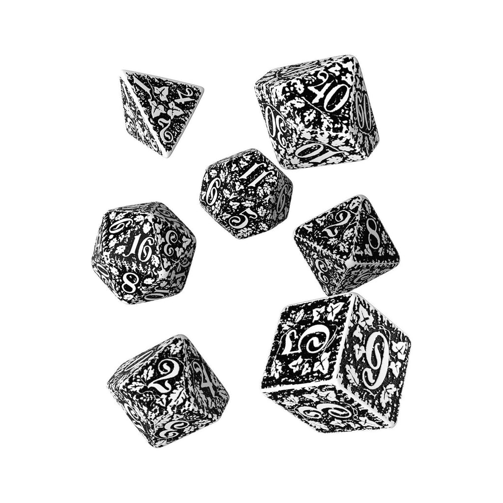 Q-Workshop Forest White Black 7 Piece Dice Set