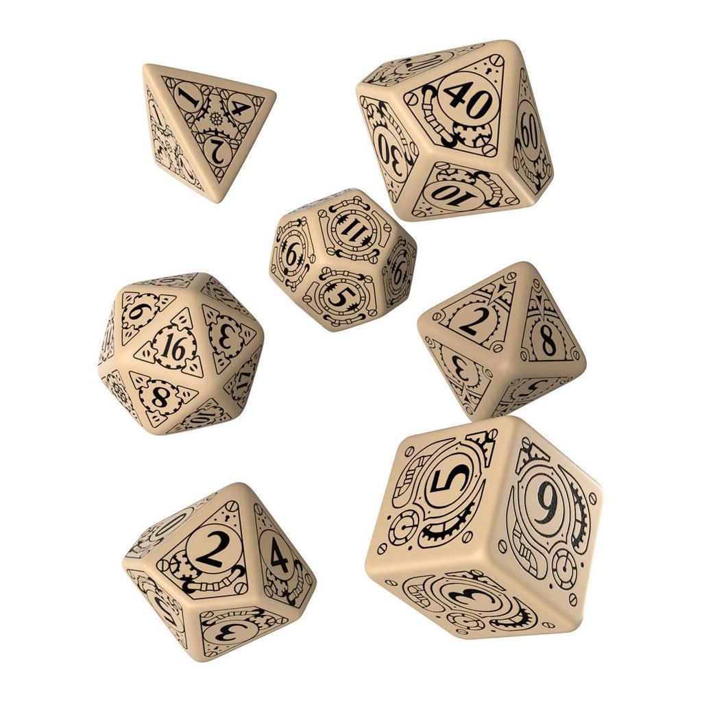 Q-Workshop Steampunk Beige Black 7 Piece Dice Set