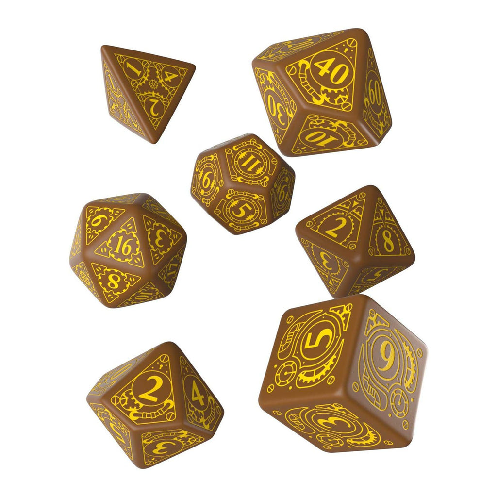Q-Workshop Steampunk Brown Yellow 7 Piece Dice Set