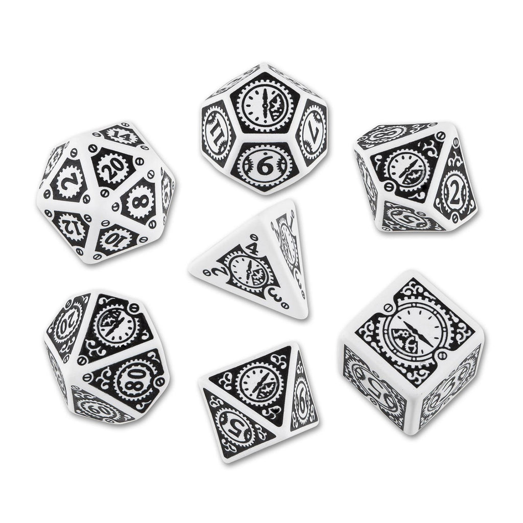 Q-Workshop Steampunk Clockwork White Black 7 Piece Dice Set
