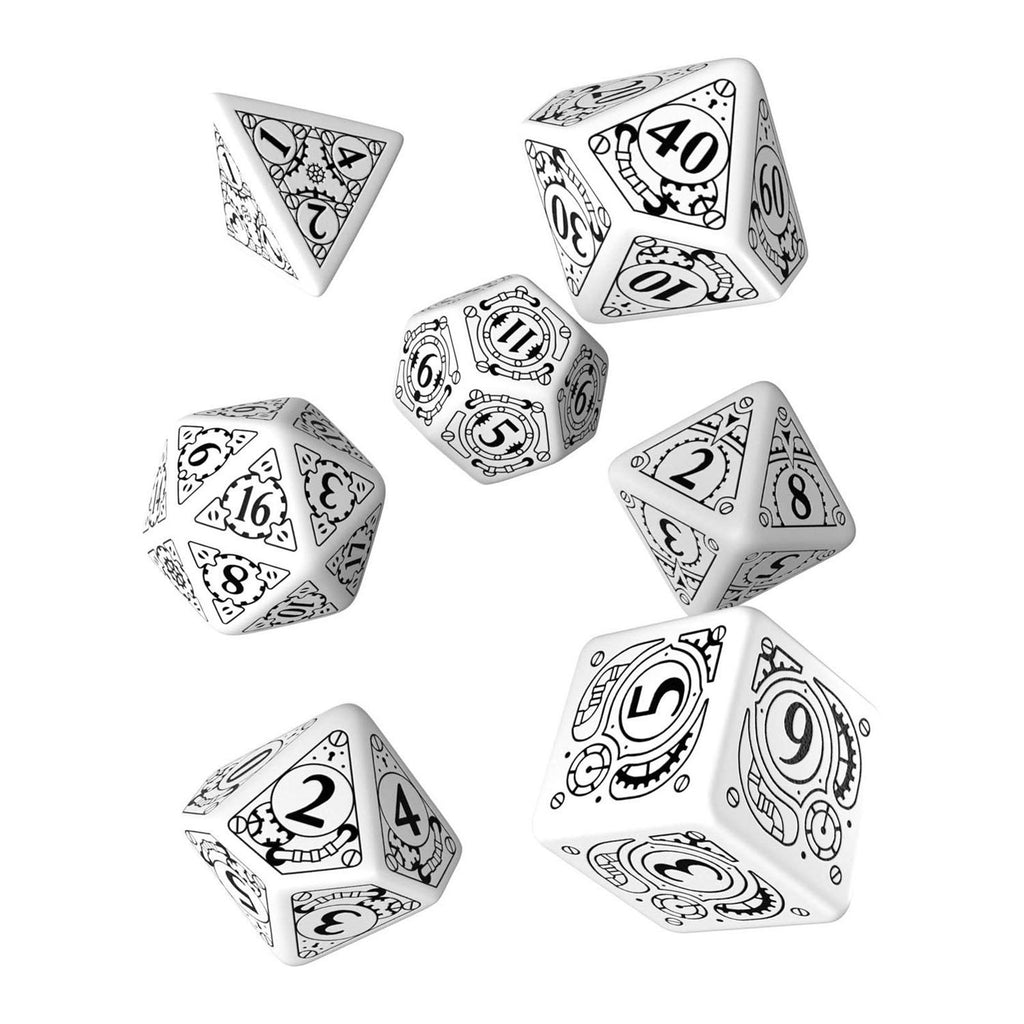 Q-Workshop Steampunk White Black 7 Piece Dice Set