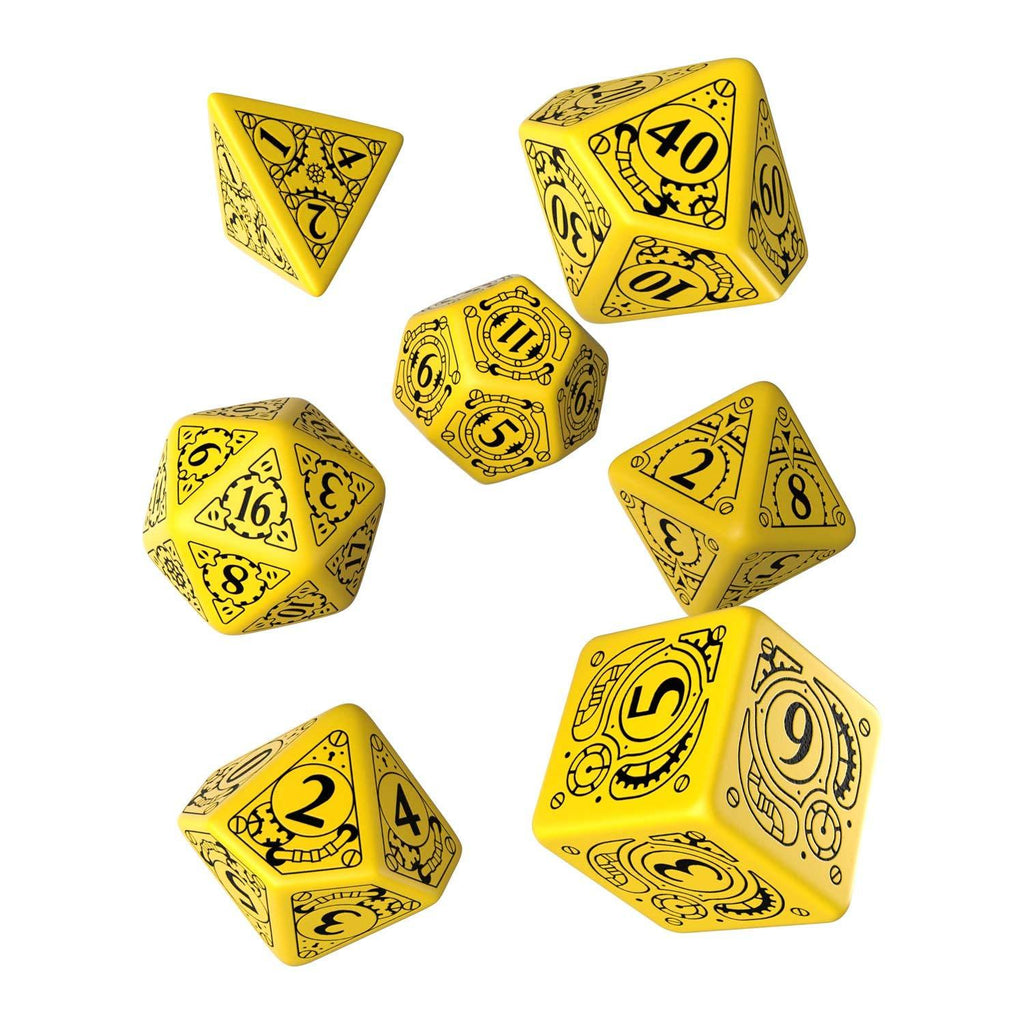 Q-Workshop Steampunk Yellow Black 7 Piece Dice Set