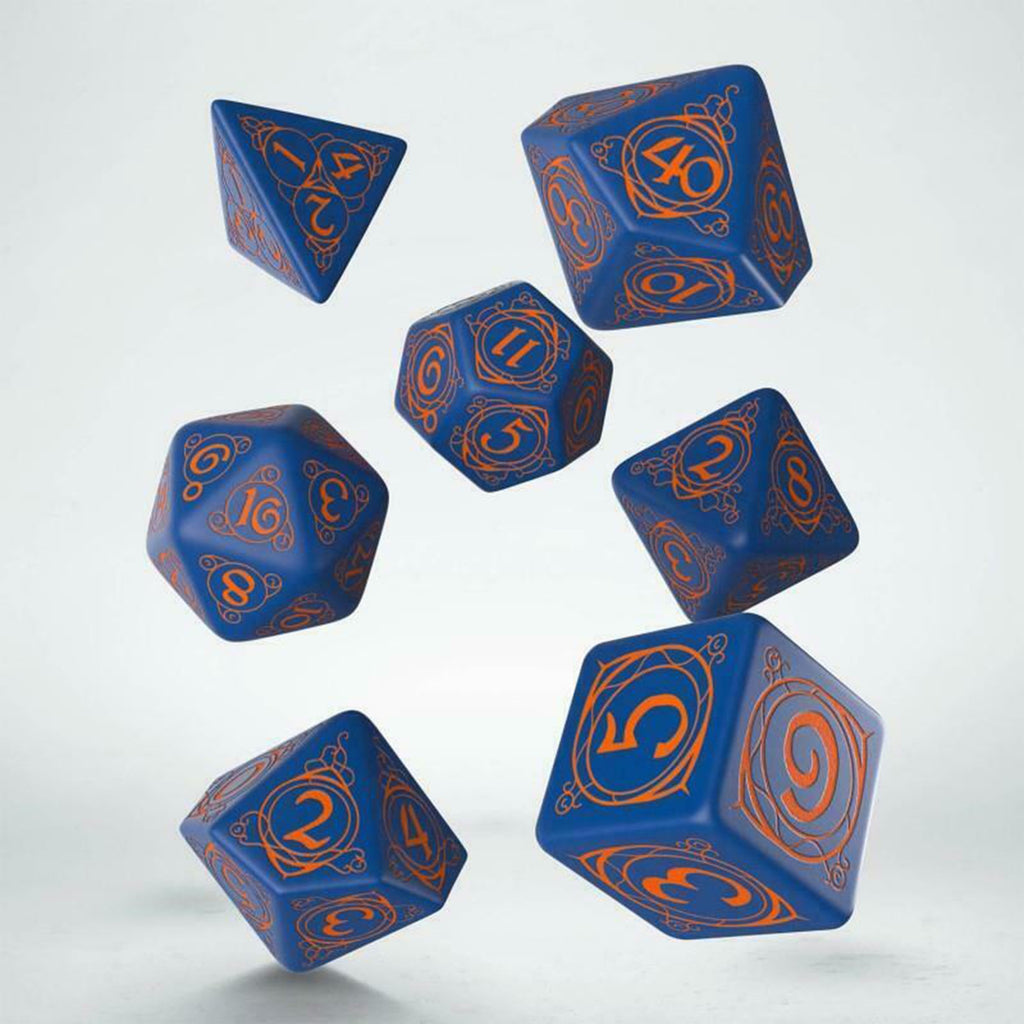 Dice - Q-Workshop Wizard Dark-Blue & Orange Roleplaying 7 Piece Dice Set