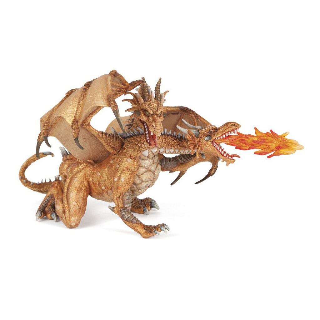 Figure - Papo Two Headed Gold Dragon Fantasy Figure 38938