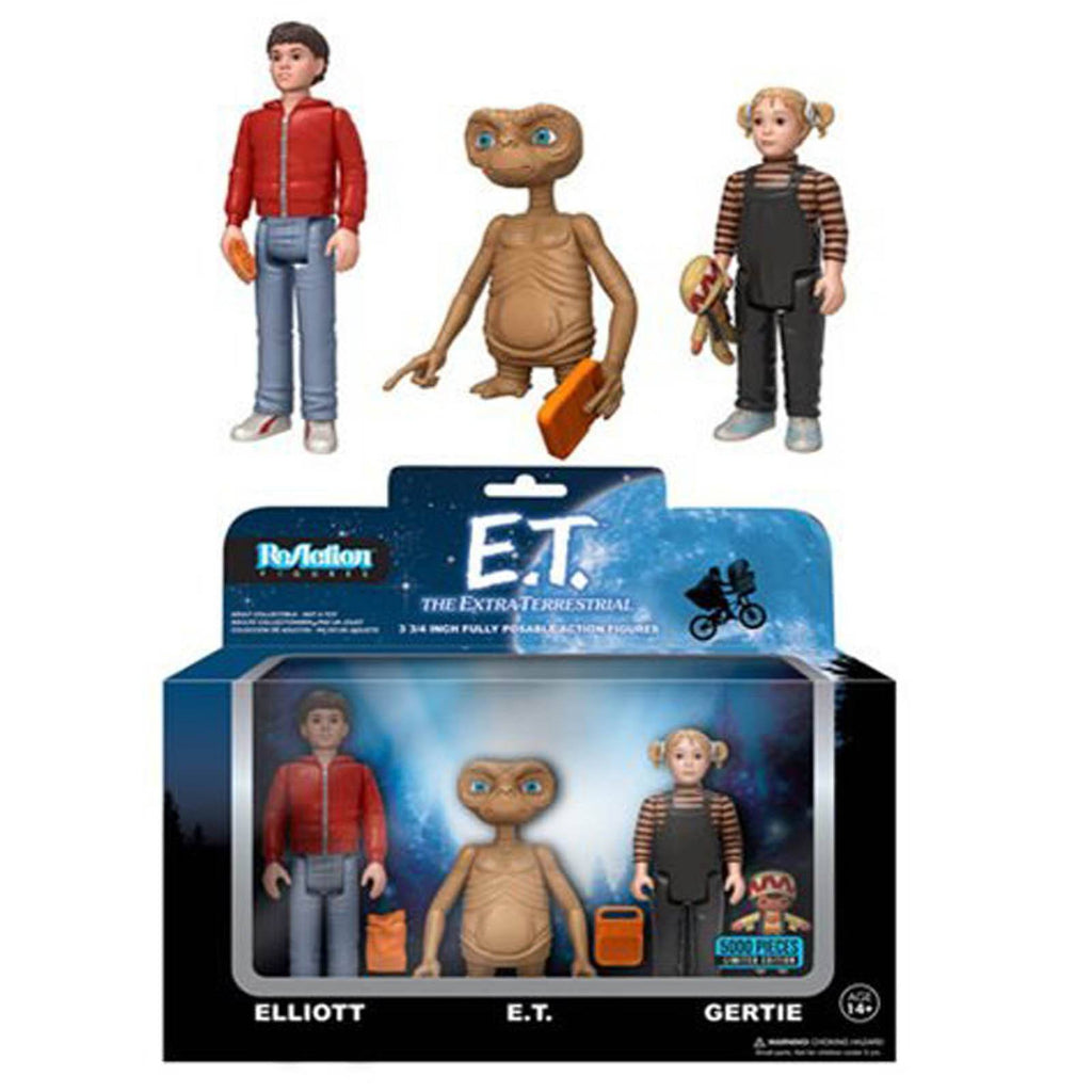 Funko E.T. Reaction Elliott E.T. Gertie 3 Pack Of Action Figures