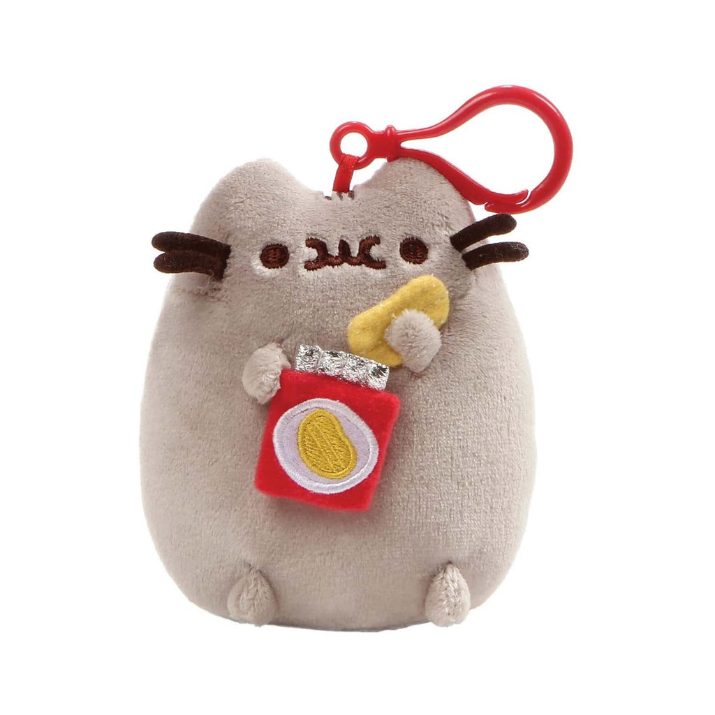 Gund Pusheen With Potato Chips 5 Inch Plush Backpack Clip