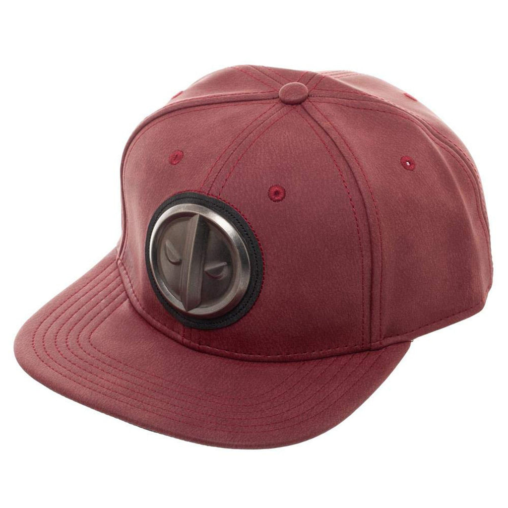 Marvel Deadpool Distressed Metal Logo Red Snapback Hat