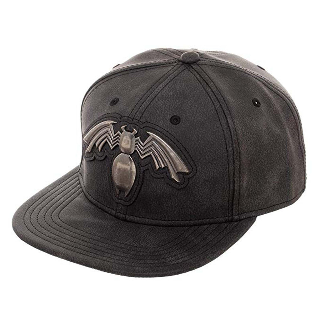 Hats - Marvel Venom Distressed Metal Logo Grey Adjustable Snapback Hat