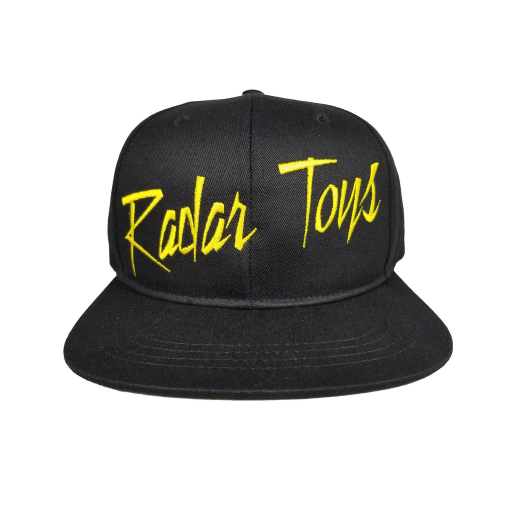 Radar Toys Yellow Lettering Black Snapback Hat
