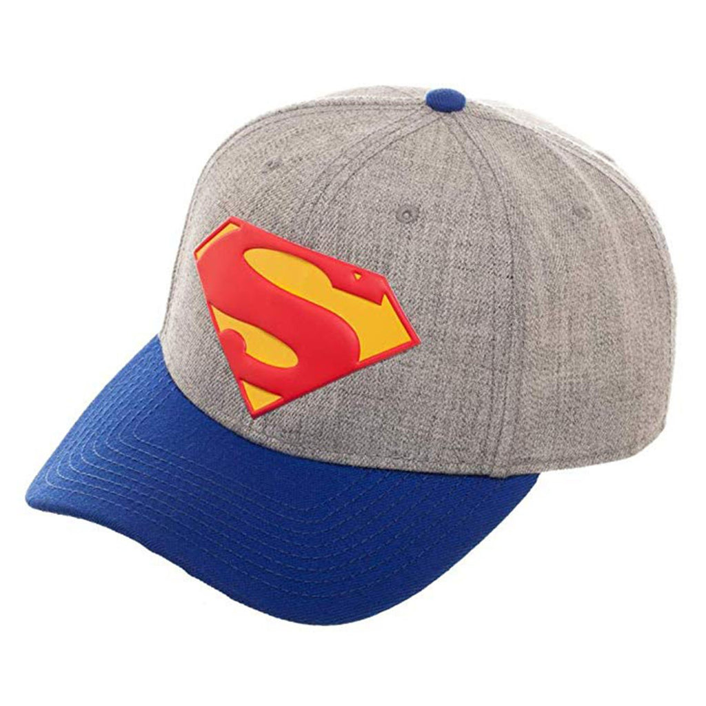 Superman Rebirth Curved Logo Blue Grey Adjustable Snapback Hat