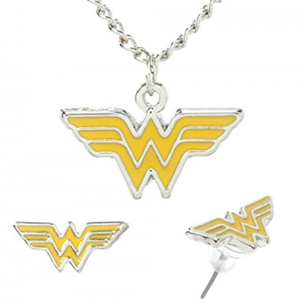 DC Comics Wonder Woman Enamel Fill Necklace Earrings Jewelry Set