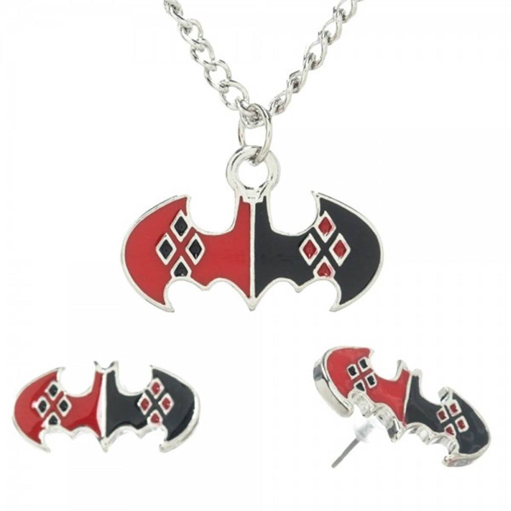 Harley Quinn Necklace Earrings Jewelry Set