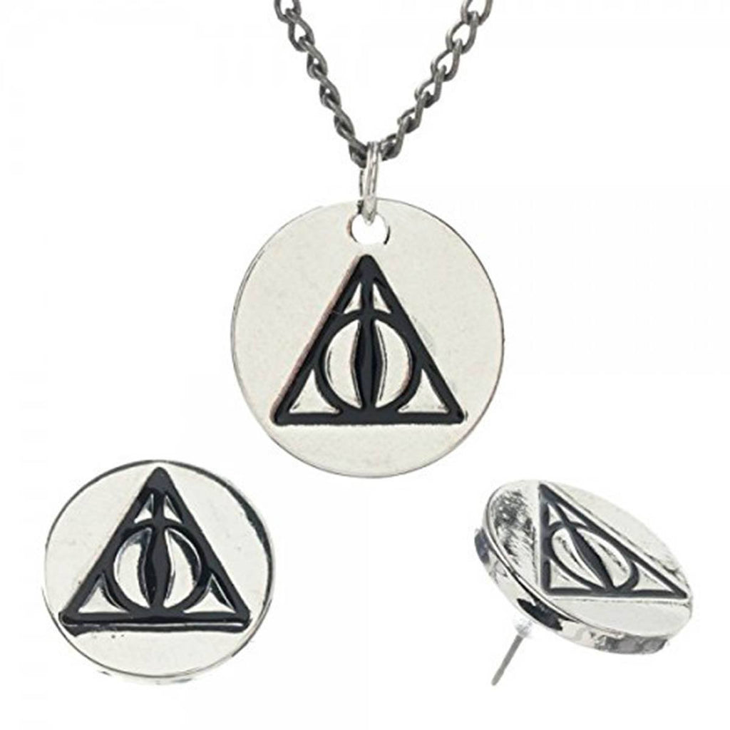 Harry Potter Deathly Hallows Charm Necklace Earrings Set