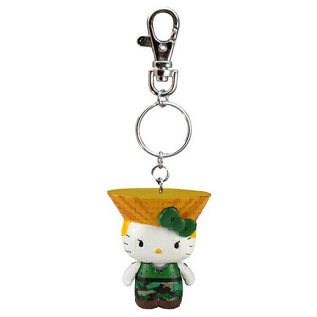 Hello Kitty Street Fighter Guile Figure Keychain