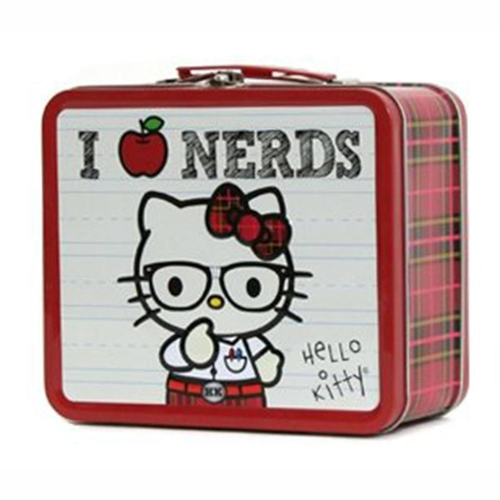 Hello Kitty Metal Tin Lunch Box I heart Nerds