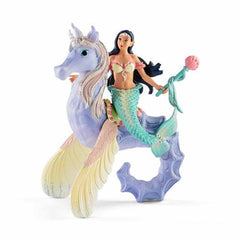 Mammal Figures - Schleich Isabelle Mermaid On Seahorse Bayala Fantasy Figure 70557