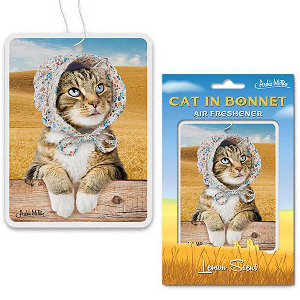 Novelty - Cat In Bonnet Lemon Scent Air Freshener