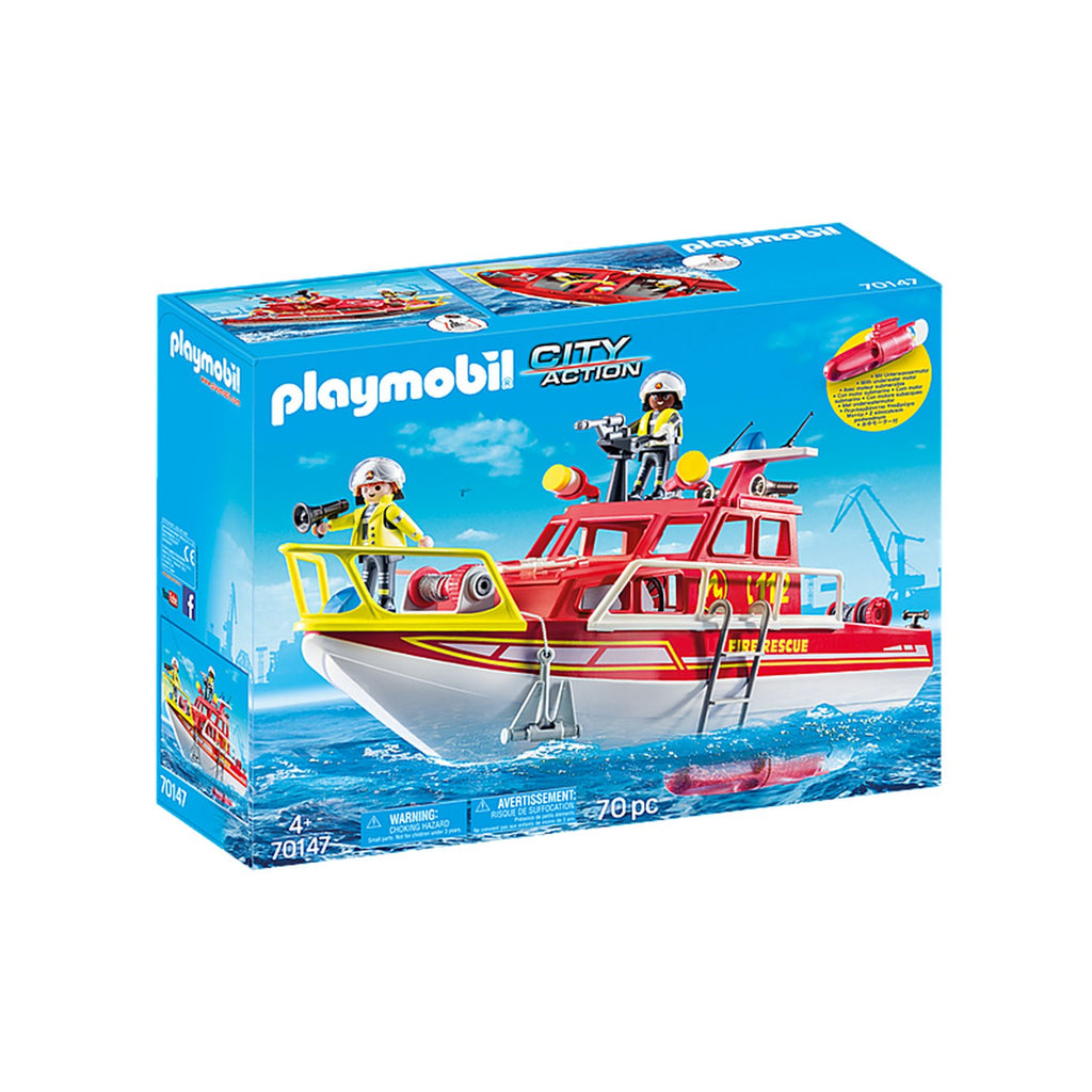Playmobil City Action Fire Rescue Boat Building Set 70147