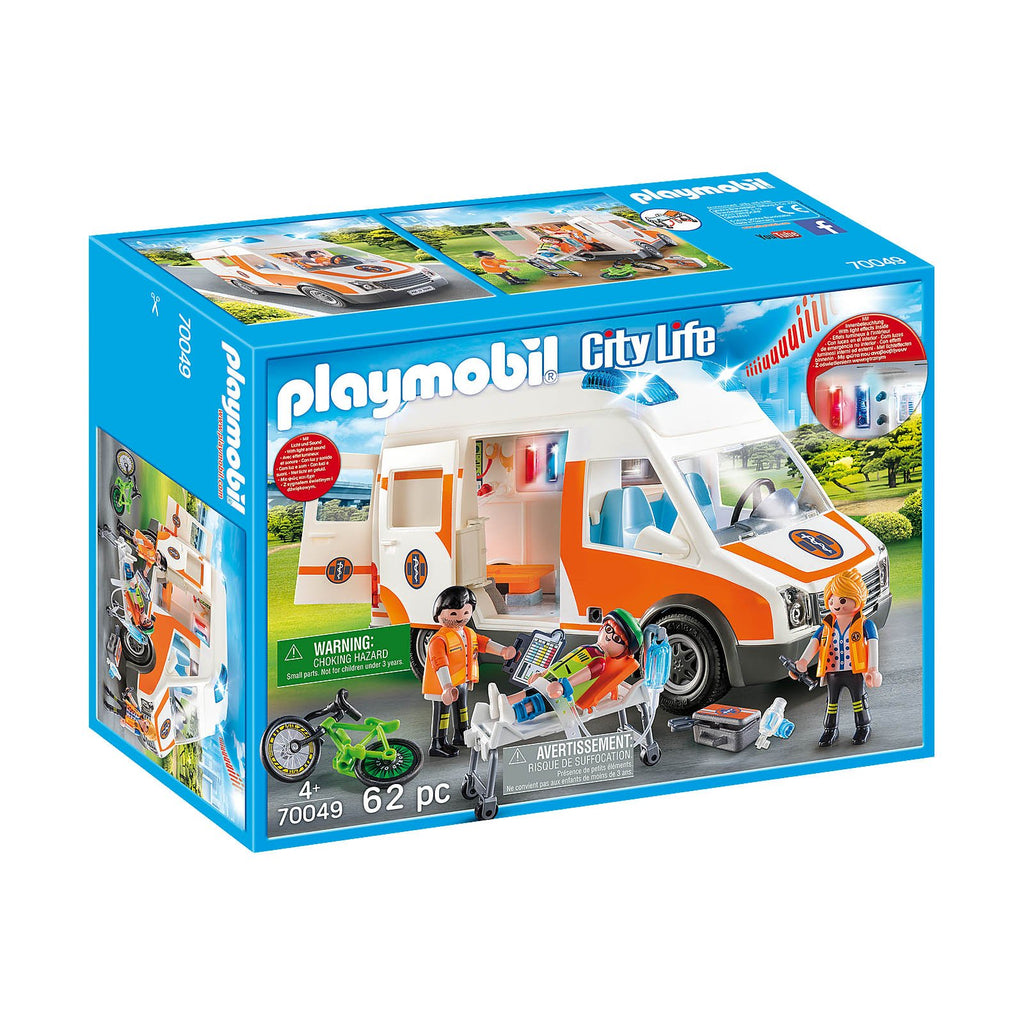 Playmobil City Life Ambulance With Flashing Lights Building Set 70049