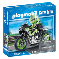 Playmobil - Playmobil City Life Motorcycle With Rider Building Set 70204