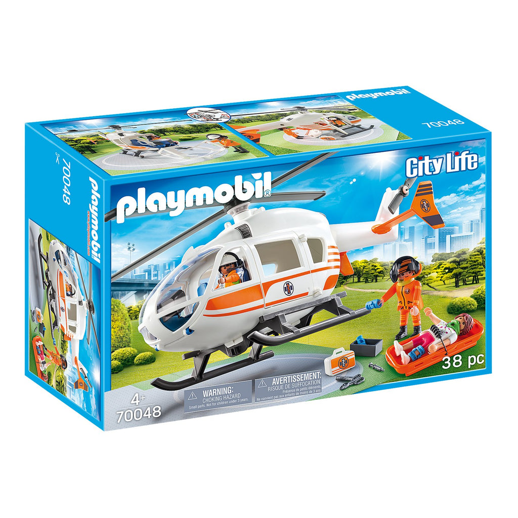 Playmobil City Life Rescue Helicopter Building Set 70048